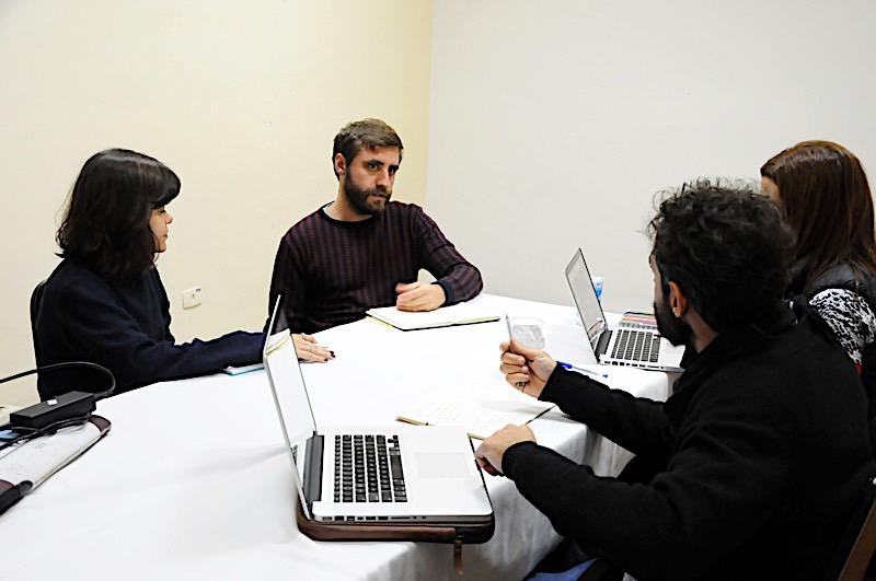 """Barbara Defanti e Felippe Mussel, do projeto """"Filmeterapia"""", com Flavio  Botelho e Renata Druck"""
